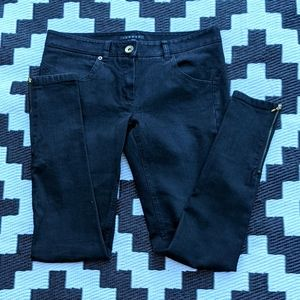 Theory black jeans with gold ankle zippers